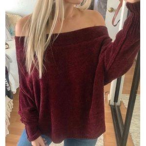 Free People velvet off the shoulder sweater